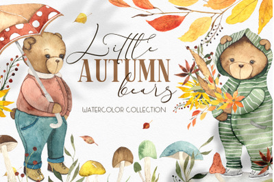 Little Autumn Bears. Watercolor collection