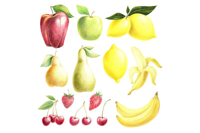 Fruit and berries set hand drawn with colored pencils