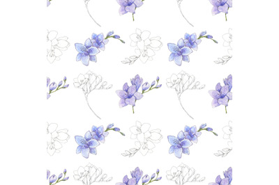 Beautiful freesia flowers watercolor and pen ink seamless pattern