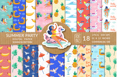 Summer girls, pool party. Seamless pattern, digital paper.