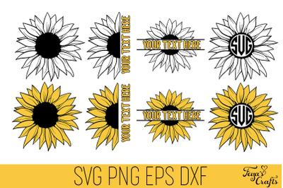 Sunflower SVG Bundle, Sunflower Monogram Svg, Split Sunflower SVG