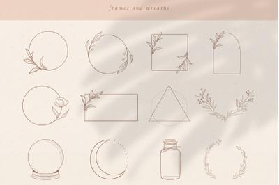 Logo Elements, Frames and Borders. Spiritual, Astrology, Crescent.