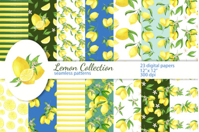 Lemon Digital Papers, Seamless Patterns