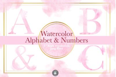 Pink Watercolor Alphabet clipart, Watercolor font