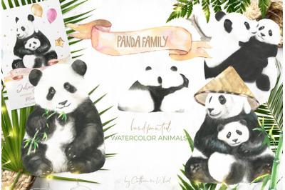 SALE Watercolor Panda Family +Bonus