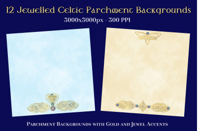 12 Jewelled Celtic Parchment Backgrounds Textures Set