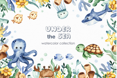 Under the sea. Watercolor clipart, frames, cards, patterns