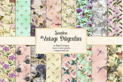 Vintage Dragonfly Digital Paper