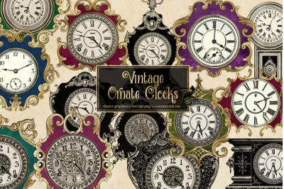 Vintage Ornate Clocks Clipart