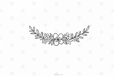Banner with flowers svg cut file