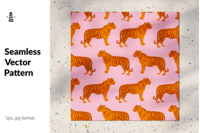 Wild cat seamless pattern