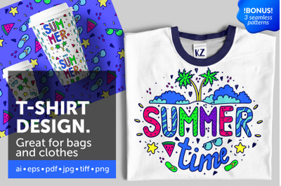 Summer illustration for t-shirt design