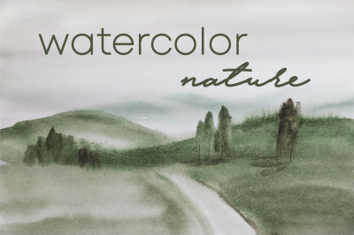 watercolor nature and landscape with tree and road of summer