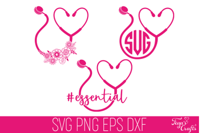 Stethoscope SVG, Stethoscope Heart SVG, Floral Stethoscope SVG