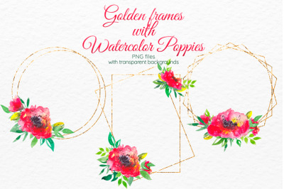 Red poppies floral frames Gold frame clipart Invitation decor Poppy
