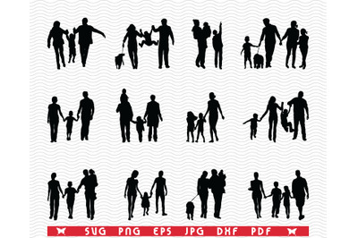 SVG, Families in walk, Black silhouettes, Digital clipart