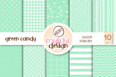 Green Candy Color Digital Papers