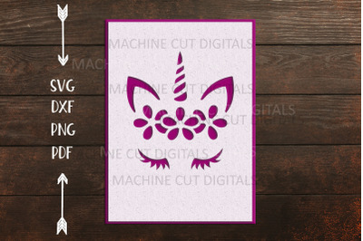 Birthday Unicorn face with flowers papercut card svg dxf  laser cut