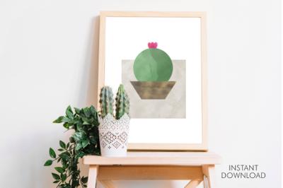 Abstract cute cactus printable decor wall art.