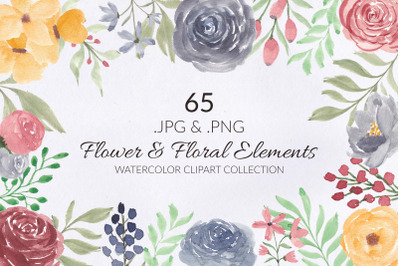 65 Flower and Floral Watercolor Illustration Clip Art