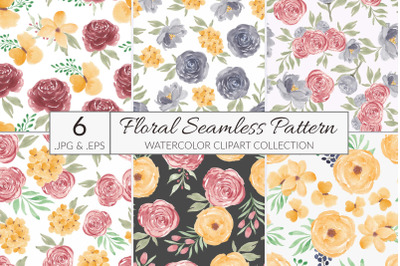 6 watercolor flower seamless pattern