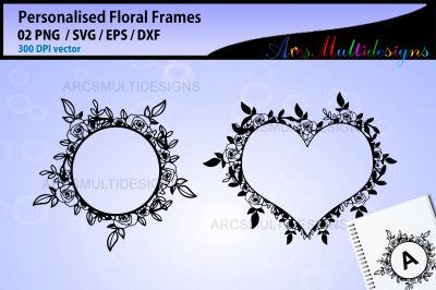 Floral Alphabet SVG Frame / Personalized Alphabet Frame SVG