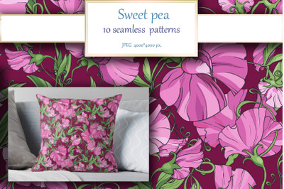 10 floral Sweet pea seamless patterns