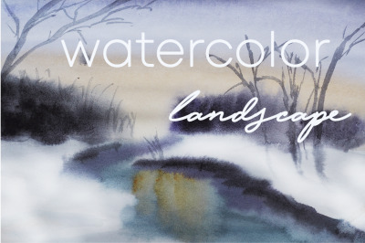 watercolor nature and landscape spring evening