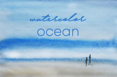 watercolor nature and landscape of summer ocean and waves