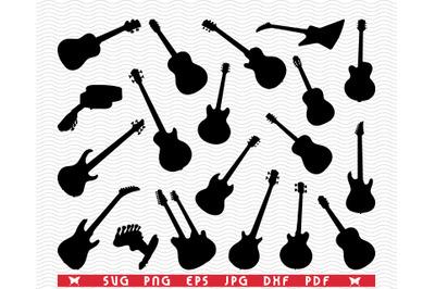 SVG, Guitars, Black silhouettes, Digital clipart