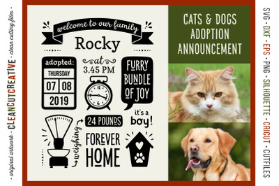 Dog Puppy Announcement Template | Rescue Pet Cat Kitten Adoption Sign