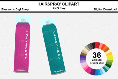 Hairspray Sticker Clipart, 36 files, multi colours