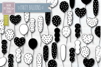 Party Balloons Hand drawn Birthday Clip Art | Esp Svg Png Dxf