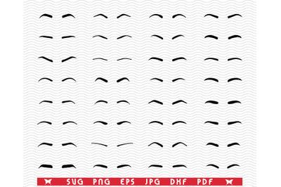 SVG, Eyebrows, Black silhouettes , Digital clipart