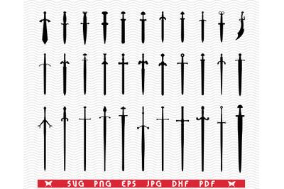 SVG, Swords, Black silhouettes , Digital clipart