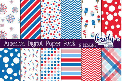 July 4th Digital Paper, Independence Day Scrapbook Pages