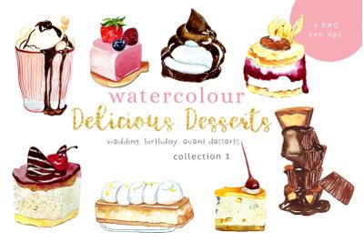 Watercolour Desserts illustration, PNG, 300dpi, Digital Downl