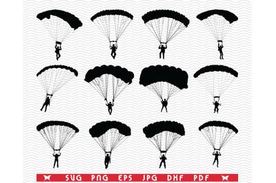 SVG, Parachutes, Black silhouettes, Digital clipart