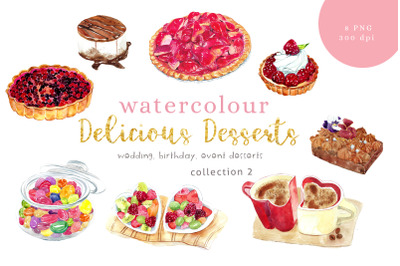 Watercolour Desserts illustration, Collection 2