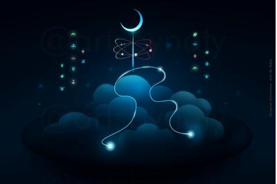 Fantasy dark night, moon on a needle digital art