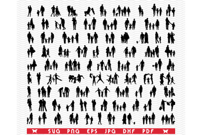 SVG Families in walk, Silhouettes, Digital clipart