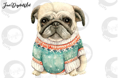 Pug Wearing A Sweater | PNG & JPEG