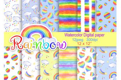 Watercolor digital paper rainbow rain cloud seamless pattern patterns