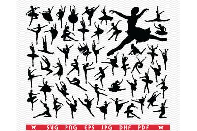 SVG Ballerinas, Black Silhouettes, Digital clipart