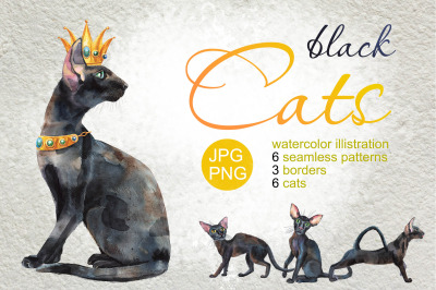Watercolor black cats