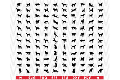 SVG Dogs breeds, Black silhouettes, Digital clipart