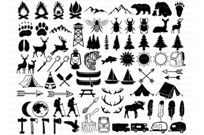 Camping Bundle SVG Cut Files,  Summer Camp, Camping Clipart.