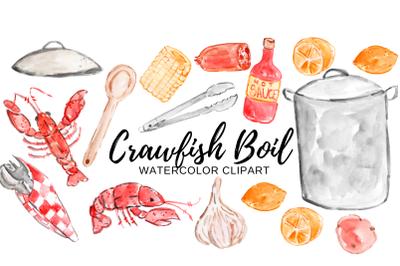 Crawfish boil watercolor clipart
