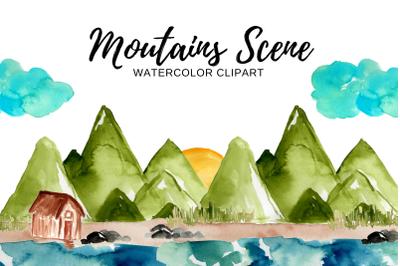 Watercolor mountain scene  clipart