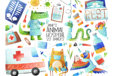 Watercolor Animal Hospital Clipart